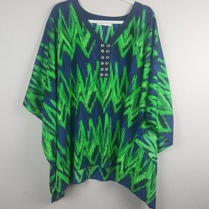 Michael Kors | Green Printed Poncho